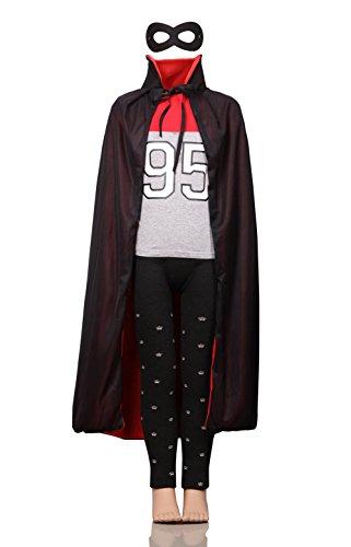 [DoSmart Halloween Cloak Double Face Satin Red Black Dress with Masks (Children-2)] (Childs Bat Costume Pattern)
