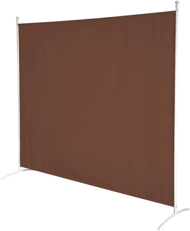 STEELAID Office Partition Room Divider 72 inch Privacy Screens 6 Ft Portable Partition Screen (Brown/White)