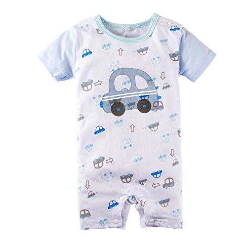 BIG ELEPHANT Baby Boys' 1 Piece Graphic Print Short Sleeve Romper Jumpsuit