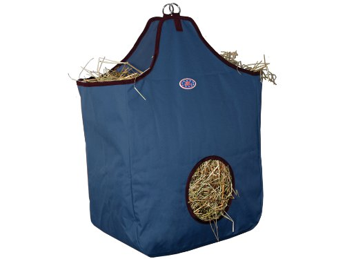 Derby Originals Nylon Hay Bags Large with D Ring, Navy/Maroon