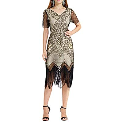 kaifongfu Art Deco Great Gatsby Inspired Tassel Beaded 1920s Flapper Dress Black