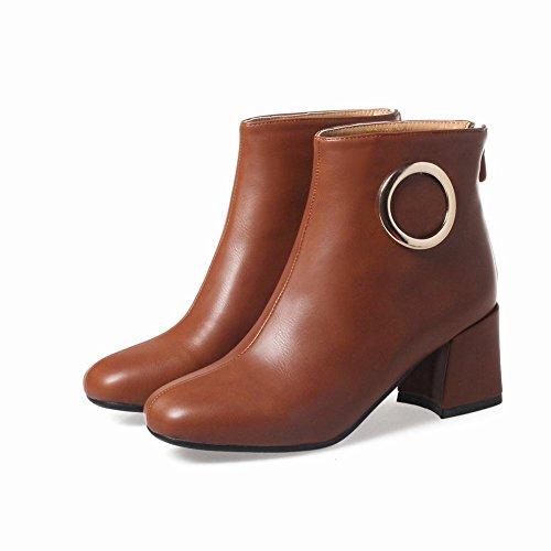 Mee Shoes Damen chunky heels Reißverschluss kurzschaft Stiefel Braun