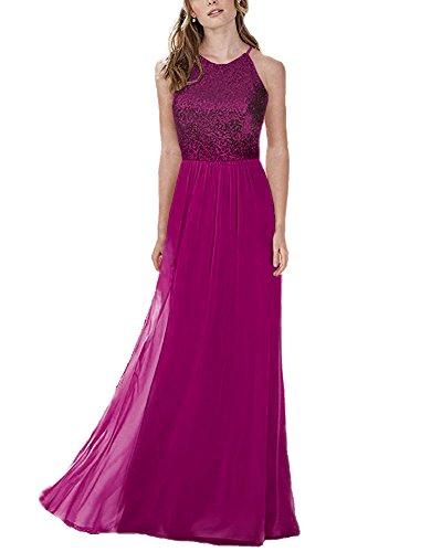 fuchsia halter dress - 1