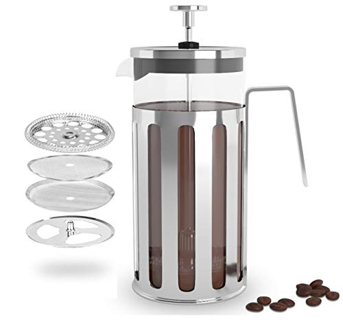 French Press Coffee Maker - 12 oz Press Coffee and Tea Maker - Stainless-Steel French Press Strainer - Double Wall Protection - Vintage French Espresso - Travel- Friendly Coffee Maker Cup