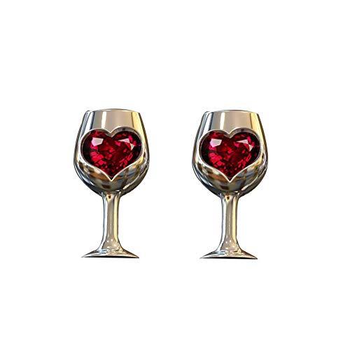 Women Vintage Faux Ruby Inlaid Love Heart Wine Glass Ear Studs Earrings Jewelry ()
