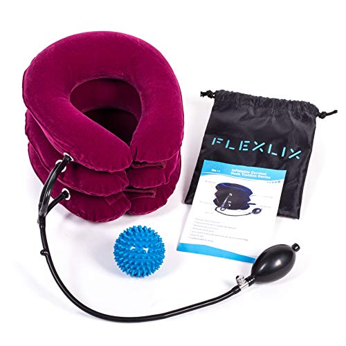 Premium Cervical Neck Traction Device | FDA Approved Air Inflatable & Adjustable Neck Stretcher Collar for Chronic Neck Pain Relief & Spine Alignment + Therapy Massage ()