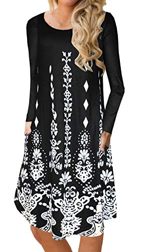 BOCOTUBE Womens Casual Floral Print Long Sleeve Loose Swing Midi Dress with Pockets