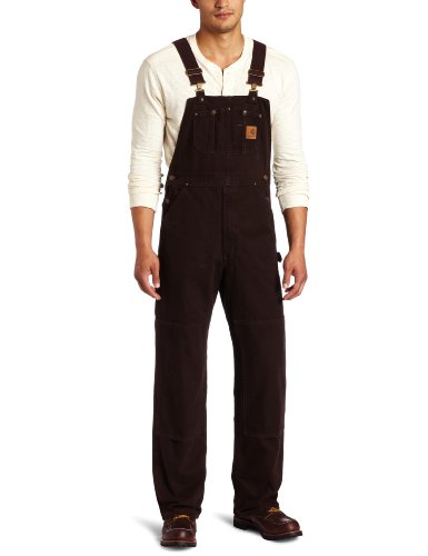 Carhartt Men's Sandstone Bib Overalls Unlined,Dark Brown,40 x 32 by Carhartt