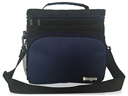 Insulated Lunch Bag: Insignia Mall Adult Lunch Box For Work, Men, Women With Adjustable Strap, Front Pocket and Side Pocket [Unisex Lunch Bags] 8.4Hx6.3Wx9.1L Inches (Black and Navy Blue)