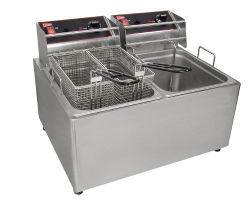 Grindmaster-Cecilware EL2X25 Countertop Electric Fryer with Stainless Steel Removable Tank, 15-Pound