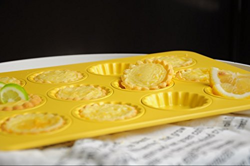 Astra Gourmet 12-Cavity Carbon Steel Mini Fluted Tart Pan/Quiche Pan/Pie Pan/Baking Tray with Matching Plastic Cutter Ring Stamp, Yellow by Astra Gourmet (Image #4)