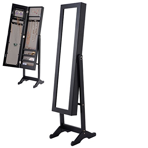 56'' Large Floor Mirror Jewelry Cabinet Accessory Organizer Storage Armoire Stand by DTOFREE