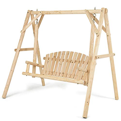 Porch Swing A-frame - Tangkula Wooden Porch Swing, Outdoor Patio Garden Rustic Curved Back A-Frame Wood Swing Bench Chair