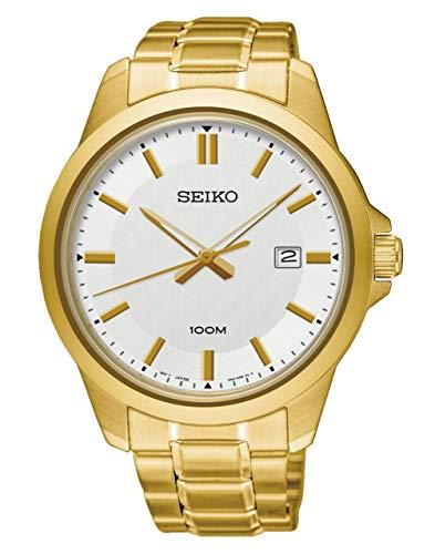 (Seiko Classic White Dial Yellow Gold-tone Mens Watch SUR248)