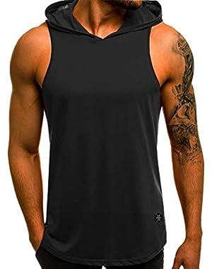 Men Vest Hoody Hood Sleeveless Tank Top Summer Sportswear Zip Tunic
