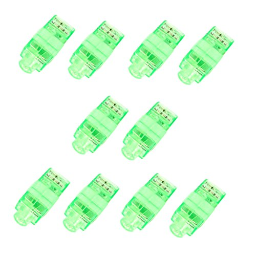 (smallwoodi 10Pcs Kids LED Party Light up Finger Lamps Dance Christmas Halloween Decor Toy Green)