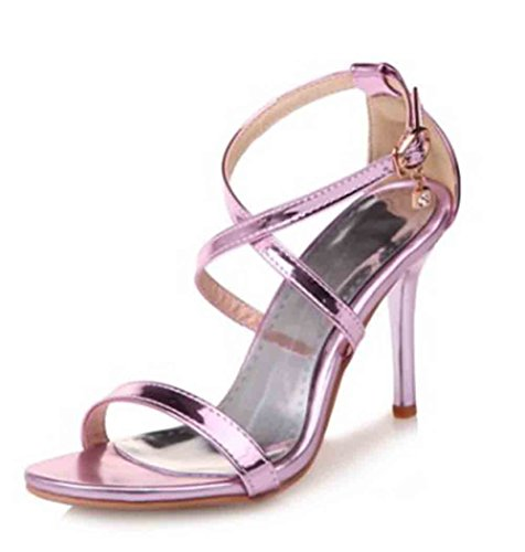 Easemax Womens Sexy Patent Open Toe Cross Ankle Buckle Straps Pendant High Stiletto Heel Sandals Purple yDcFd6