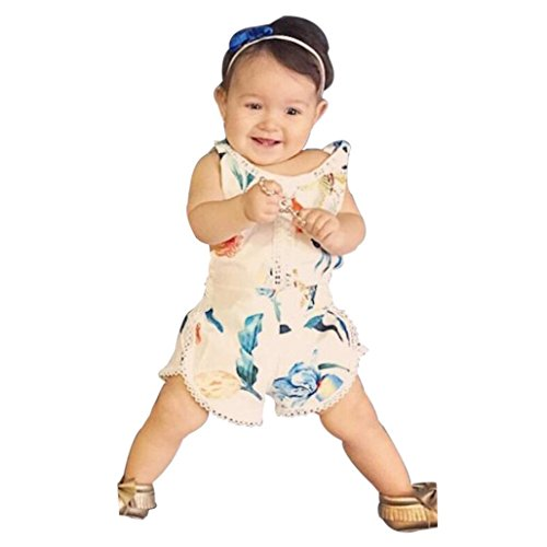 Price comparison product image Palarn Floral Clothes Outfits Summer Sleeveless Romper Girl Boy Kid Baby Jumpsuit (24M,  Beige)