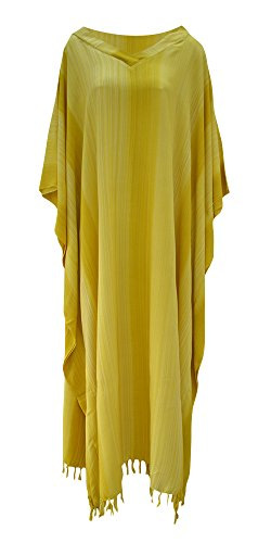 Stripe Kaftan (Stripey Ladies Kaftan Long Ethnic Hand Made Vibrant Large Womens Cool Stripes Cool (Yellow))