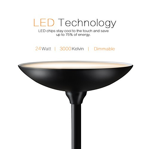 Sunllipe LED Torchiere Floor Lamp – Remote Switch, 24W Stepless Dimming, Energy Saving, Modern Tall Standing Pole Uplight Light for Bedroom Living Room Office – Jet Black