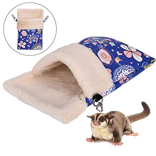 - KINTOR Super Warm Sugar Glider Sleep Pouch Bed for Winter Small Animal Guinea Pig Hamster Squirrel Hedgehog Chinchilla Ferret House Nest (M, Blue Deer)