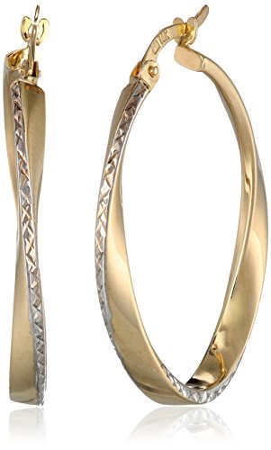 Two Tone Gold Oval Hoop - 2