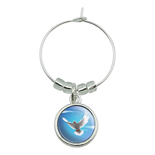 (Dove Bird Flying In the Sky Wine Glass Charm Drink Marker)