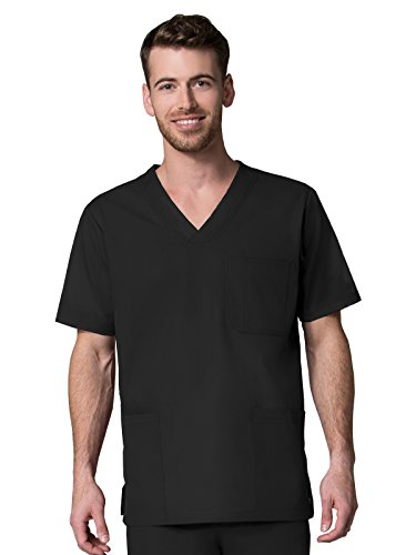 Red Panda Men's V-Neck Solid Scrub Top Large Black by Red Panda