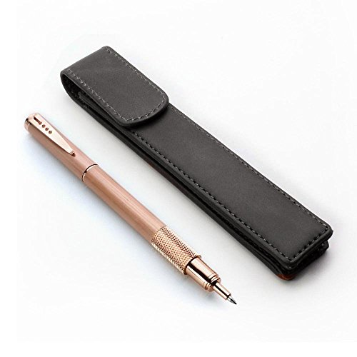 Leather Pen Case Pouch Holder - Protective Single Sleeve for Pens, Black