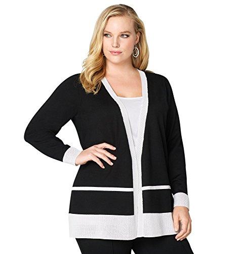 Avenue Women's Mesh Colorblock Cardigan, 22/24 Black White