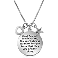 """Good Friends Are Like Stars"" Inspirational Friendship Necklace for Best Friends Forever, Besties, BFF"