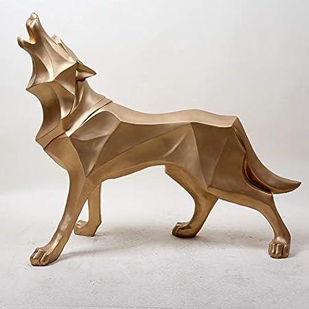 blanco decoraci/ón Kentop Escultura decorativa Negro dormitorio regalo con ornamentos de resina dise/ño de lobo para sal/ón