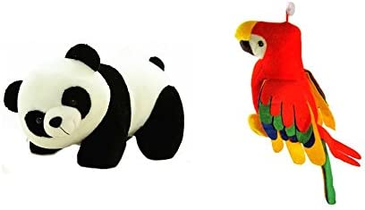 Deals India Panda Soft Toy (26 cm) and musical parrot (25 cm) combo