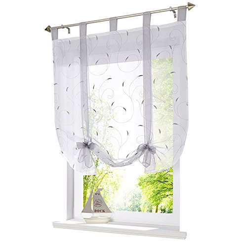 (SINOGEM Floral Embroidered Tie-Up Roman Shades Tab Top Sheer Balcony Window Balloon Curtain Voile Drape Bowknot Drapery Valance Panels for Play Room Decor Decorative (47