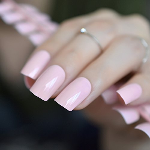 CoolNail UV Effect Light Pink False Nails Tip French Full Cover Medium Length Square Fake Nail ABS Artificial DIY Nail Manicure