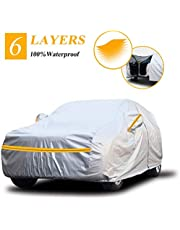 """Autsop Car Cover Waterproof all Weather, 6-Layers Car Covers for Automobiles Snowproof Sunproof Dustproof Windproof Hail Protection Outdoor, Full Exterior Covers with Cotton, Universal Fit for SUV/JEEP up to 200"""""""
