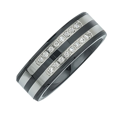 Men's Diamond Double Row Band in Ceramic and Stainless Steel (0.20 carats, H-I I3)