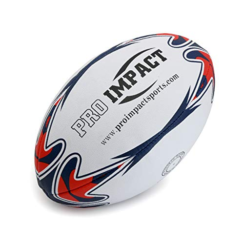 Pro Impact Match Rugby Ball - Professional Grade Ball, Heavy Duty & Durable - Ideal for Long Matches & Gameplay (White, Size 5) ()