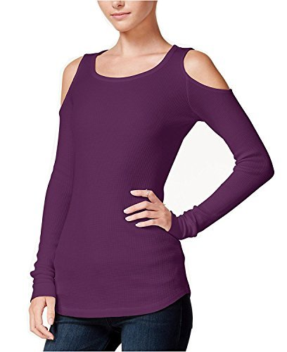 Chelsea Sky Womens Waffle Knit Cold Shoulder Thermal Top Purple (The Chelsea Knit Top)