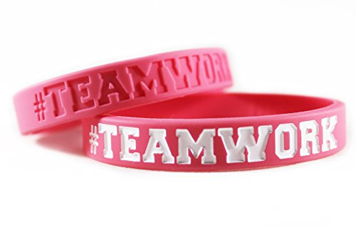 #TEAMWORK Inspirational Rubber Band Bracelets Silicone Wristbands Custom. Perfect for Football, Basketball, Team Sports & Office Environment. In Pink and White (Team Rubber Bracelet)