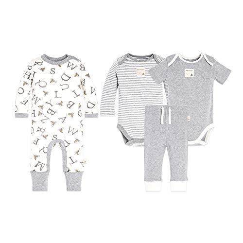 Burt's Bees Baby Unisex 4-Piece Clothing Set, Bodysuit, Romper Pant Bundle, 100% Organic Cotton, C, 12 ()