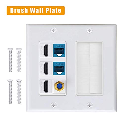3 HDMI HDTV + 2 CAT6 RJ45 Ethernet + Coaxial Cable TV F Type Keystone Face Plate IQIAN Brush Wall Plate, Wall Socket for HDTV, HDMI, Home Theater Systems ...