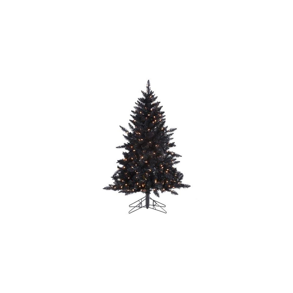 4.5 Pre Lit Designer Black Ashley Spruce Artificial Christmas Tree Clear Lights