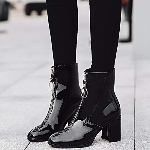 Dur La Zip Tête Carrée Avec Le Au Laque Métal Chaussures Hbdlh sexy Black Pied Personnalité Cm Pour Maman Dingxue 6 Bottes Front Femmes 6wZfqWUzn