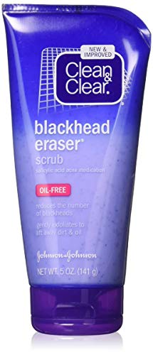 Clean & Clear Blackhead Eraser Facial Scrub with 2% Salicylic Acid Acne Medication, Oil-Free Daily Facial Scrub for Acne-Prone Skin Care, 5 oz (Pack of 3) (Clean N Clear Pimple Clearing Face Wash)