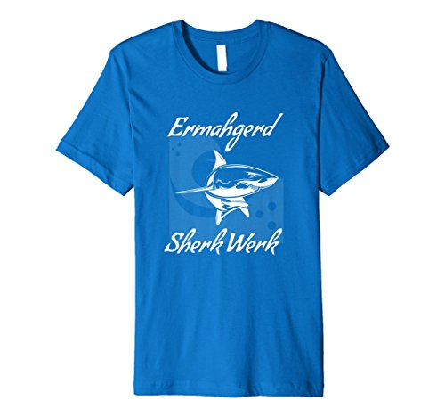 Mens Funny Shark T Shirt Ermahgerd Sherk Werk Medium Royal Blue
