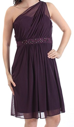 Adrianna Papell Women Embellished Tulle Sheath Dress Purple 8