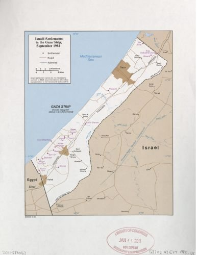 1985 Map Israel settlements in the Gaza Strip, September 1984. - Size: 18x24 - Ready to Frame - Gaza (Gaza Strip Israel Map)