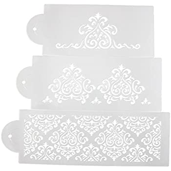 Beauty Clubs 3Pcs Wedding Decorating Tool Lace Flower Cake Cookie Fondant Side Baking Stencil
