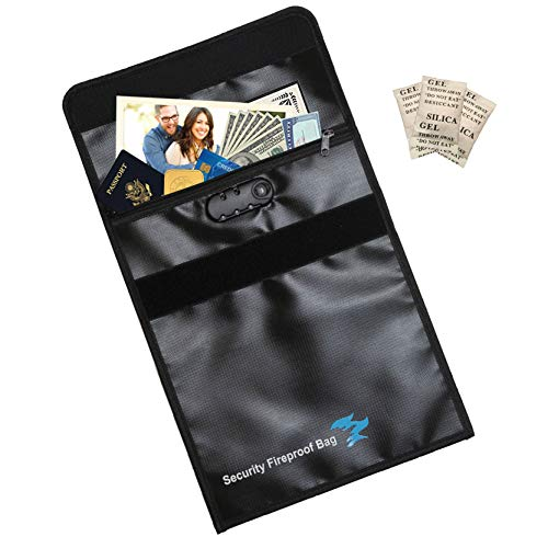 Fireproof Document Bag Zipper Closure with Lock, Silica Gel Packs, 15